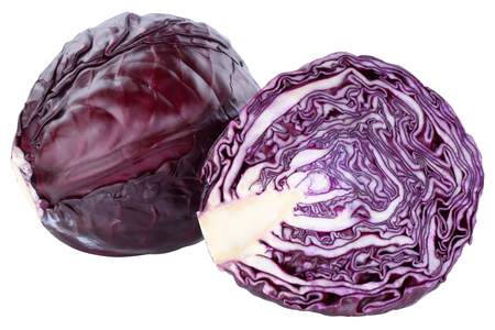 Red cabbage sliced fresh food vegetable isolated on a white background