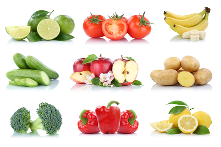 Fruits vegetables collection isolated apple apples tomatoes banana bell pepper colors fresh fruit on a white background