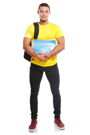 Student college young man full body portrait smiling people isolated on a white background