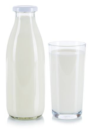Fresh milk glass and bottle isolated on a white background