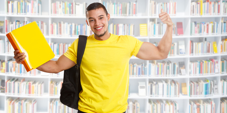Student success successful banner strong power library people learning Stockfoto