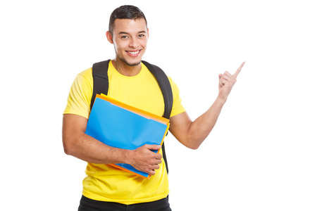 Student young man education showing pointing marketing information ad advert people isolated on a white background