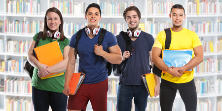 Group of students study education library young people city
