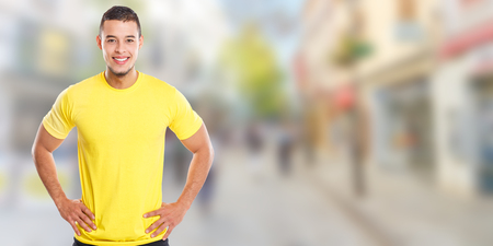 Young latin man smiling happy people town banner copyspace copy space male