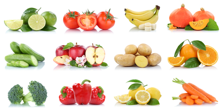 Fruits vegetables collection isolated apple apples tomatoes orange banana colors fresh fruit on a white background