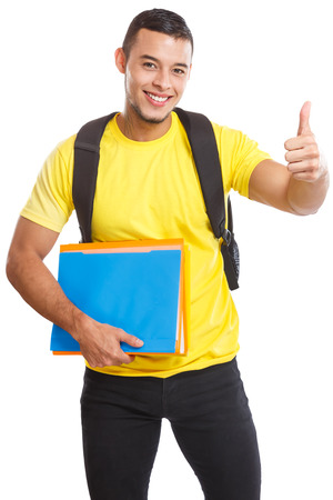 Student success successful thumbs up smiling people isolated on a white background