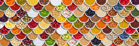 Fruits and vegetables food background spices ingredients berries from above fruit