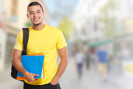 Student young man town copyspace copy space learning smiling people town