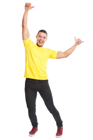 Happy young latin man success successful smiling full body portrait people isolated on a white background Stockfoto