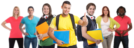 Group of students college student young people success successful thumbs up education isolated on a white background