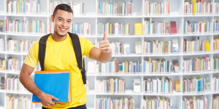Student success successful thumbs up banner copyspace copy space library learning smiling people learn