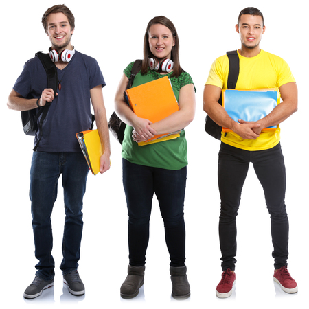 Students study education young people isolated on a white background