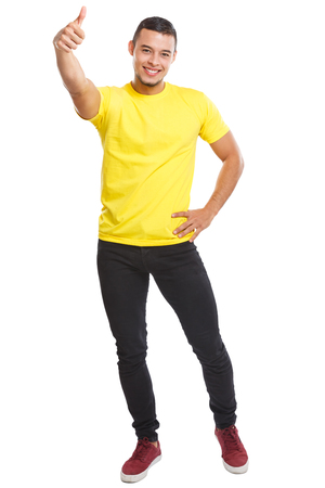 Latin man young success successful smiling full body portrait thumbs up people isolated on a white background Stockfoto