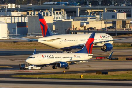 Atlanta, Georgia – April 2, 2019: Delta Air Lines Boeing 737-700 airplane at Atlanta Airport (ATL) in the United States.