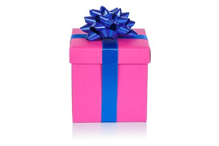 Christmas present birthday gift pink box ribbon isolated on a white background