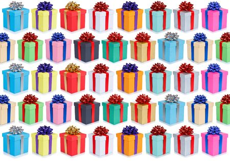Birthday gifts christmas presents wallpaper background collection set group isolated on a white background Stock Photo