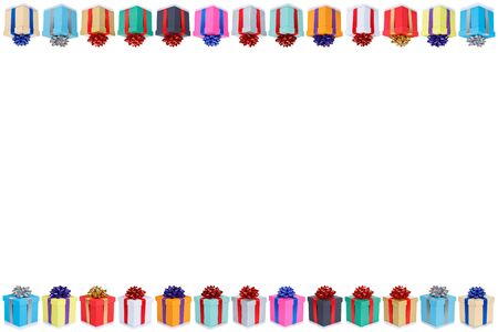 Collection of birthday gifts christmas presents copyspace copy space border isolated on a white background