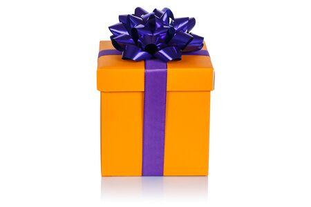 Christmas present birthday gift orange box ribbon isolated on a white background