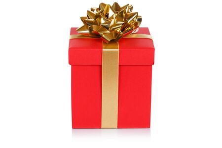 Christmas present birthday gift red box ribbon isolated on a white background 版權商用圖片