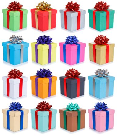 Birthday gifts christmas presents set collection group of isolated on a white background