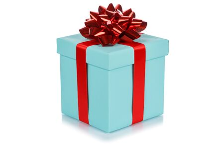 Birthday gift christmas present turquoise box isolated on a white background 版權商用圖片