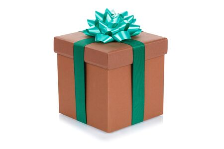 Birthday gift christmas present brown box isolated on a white background 版權商用圖片
