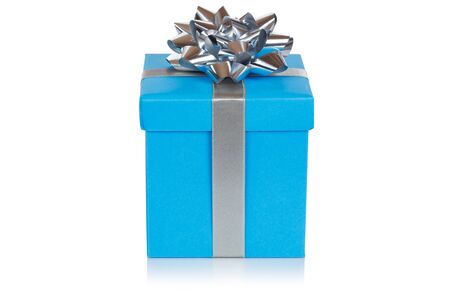 Christmas present birthday gift blue box ribbon isolated on a white background