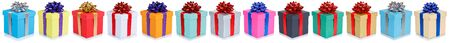 Collection of birthday gifts christmas presents in a row isolated on a white background