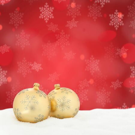 Christmas card golden balls baubles red decoration copyspace square copy space snowflakes