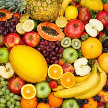 Fruits collection food background square apples oranges lemons fresh fruit backgrounds