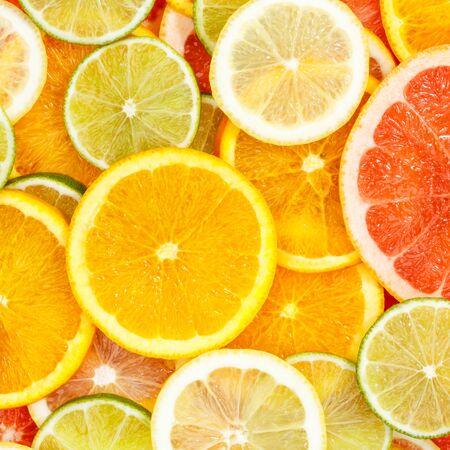 Citrus fruits collection food background oranges square lemons limes grapefruit fresh fruit backgrounds