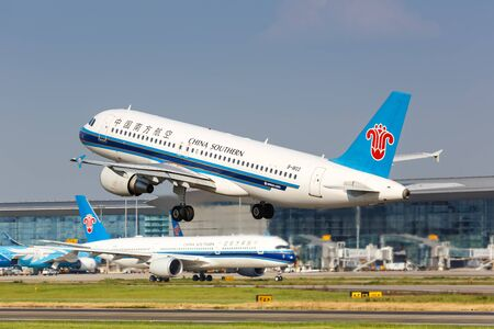 Guangzhou, China – September 23, 2019: China Southern Airlines Airbus A320 airplane at Guangzhou airport (CAN) in China.