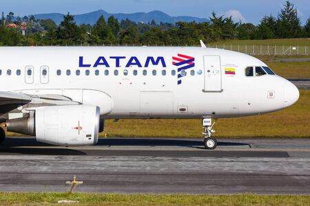 Medellin, Colombia – January 26, 2019: LATAM Airbus A320 airplane at Medellin Rionegro airport (MDE) in Colombia.