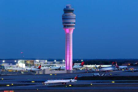Atlanta, Georgia – April 2, 2019: Tower at Atlanta Airport (ATL) in the United States.