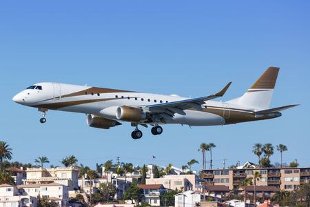 San Diego, California – April 13, 2019: Private Embraer Lineage 1000E airplane at San Diego airport (SAN) in the United States.
