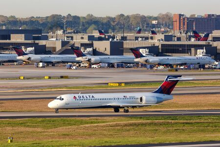 Atlanta, Georgia – April 3, 2019: Delta Air Lines Boeing 717-200 airplane at Atlanta Airport (ATL) in the United States.