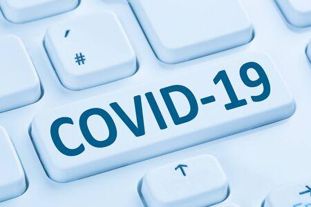 COVID-19 COVID Coronavirus corona virus infection disease ill illness computer keyboard internet Stock fotó