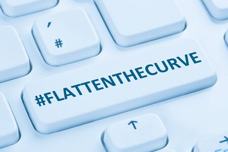 Flatten The Curve hashtag stay at home Coronavirus corona virus infection computer keyboard internet