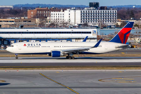 New York City, New York – March 1, 2020: Delta Air Lines Boeing 767-300ER airplane at New York JFK airport (JFK) in the United States. Boeing is an American aircraft manufacturer headquartered in Chicago. Editorial