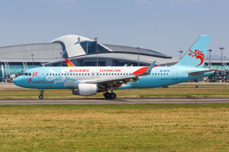 Guangzhou, China – September 23, 2019: Loongair Airbus A320 airplane at Guangzhou airport (CAN) in China. Airbus is a European aircraft manufacturer based in Toulouse, France.