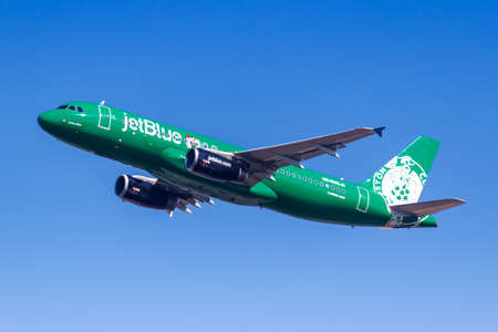 New York City, New York – March 1, 2020: JetBlue Airbus A320 airplane at New York JFK airport (JFK) in the United States.
