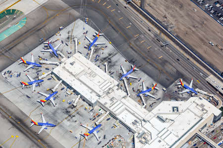 Los Angeles, California – April 14, 2019: Southwest Airlines Boeing 737 airplanes Terminal 1 at Los Angeles International airport (LAX) in California.