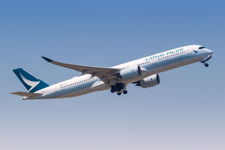 Hong Kong, China - September 20, 2019: Cathay Pacific Airways Airbus A350-900 airplane at Hong Kong airport (HKG) in China. Airbus is a European aircraft manufacturer based in Toulouse, France.