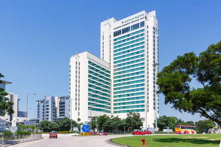 Hong Kong, China - September 20, 2019: Cathay Pacific City headquarters at Hong Kong airport (HKG) in China.