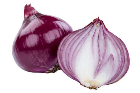 Red onion vegetable onions slice sliced fresh isolated on a white background