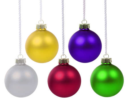 Christmas balls baubles colorful decoration isolated on a white background