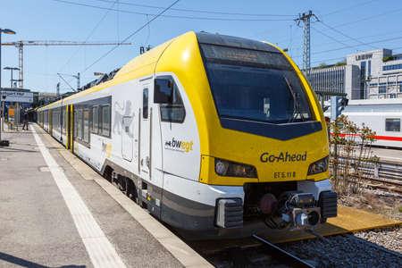 Stuttgart, Germany - April 22, 2020: Regional train Go-Ahead Go Ahead Stadler FLIRT 3 at Stuttgart main station railway in Germany.