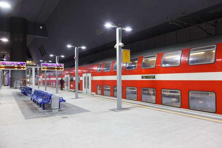 Jerusalem, Israel - February 17, 2019: Jerusalem Yitzhak Navon railway station with regional train in Israel. Editorial