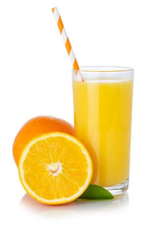 Orange fruit juice smoothie drink straw oranges glass isolated on a white background