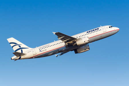 Athens, Greece - September 23, 2020: Aegean Airlines Airbus A320 airplane at Athens Airport in Greece. Airbus is a European aircraft manufacturer based in Toulouse, France.